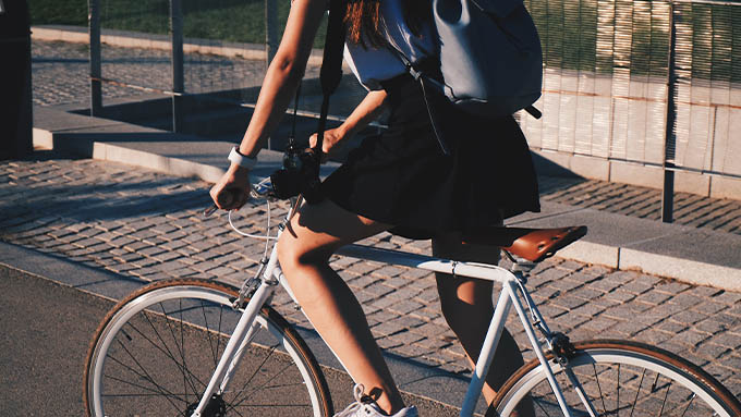 Lady cycling during cycle to work day