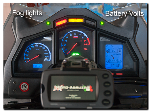 Aprilia Caponord ETV1000 Rally-Raid - dashboard with AS7 Autoswitch LED and Sparkbright battery monitor