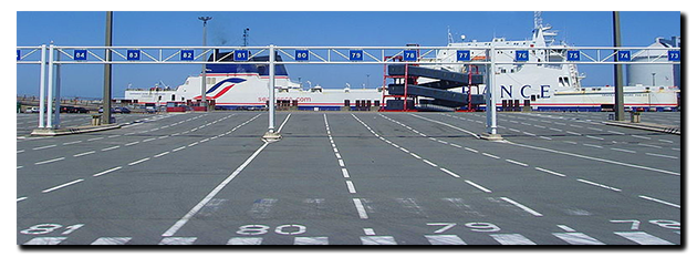 Calais docks ...... a bit quiter than the war-zone approach roads!