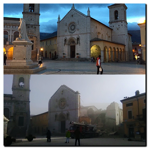 Norcia - Basilica of San Benedetto before and after.
