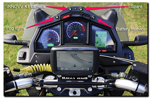 Aprilia ETV1000 Caponord Rally-Raid LED dashboard cockpit Garmin Zumo 590LM