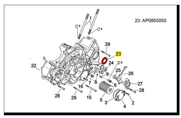 Aprilia Caponord ETV1000 Rally-Raid AP0850050 gearbox output shaft seal