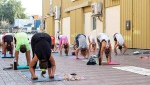 yoga class outside Nilaya House