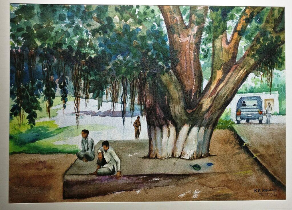 KK-MALVIYA-PAINTING_UNDER-THE-TREE_20X27_WATER-COLOUR-ON-PAPER_12000