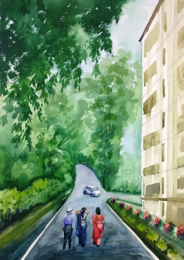 KK-MALVIYA_PAINTING_LETS-GO_19X25_WATER-COLOUR-ON-PAPER_8000
