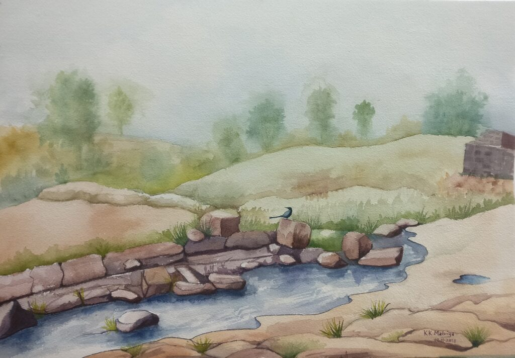 KK MALVIYA_PAINTING_LONELY RIVER_WATER COLOUR_20X27
