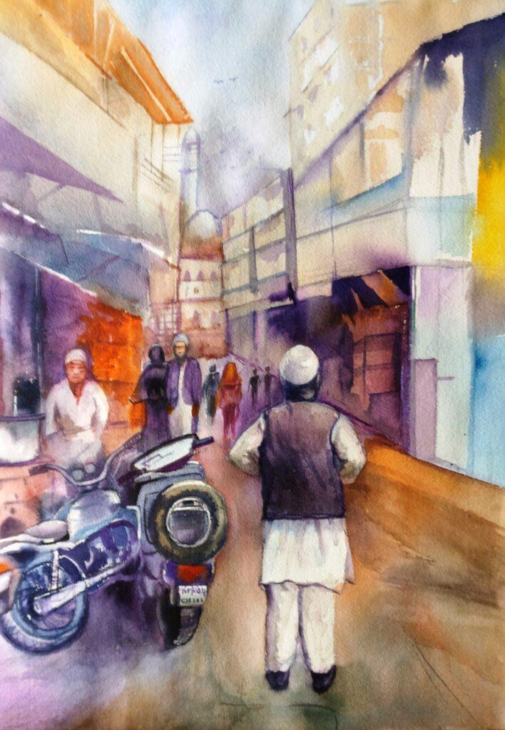 KK-MALVIYA_PAINTING_STREET OF BHOPAL_25X19_WATER-COLOUR-ON-PAPER_8000