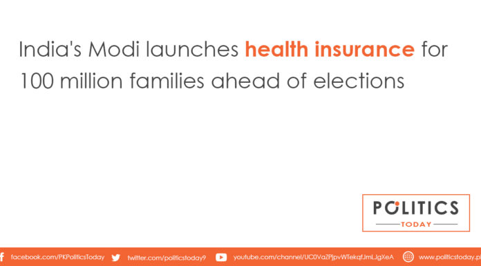 India's Modi launches health insurance for 100 million families ahead of elections