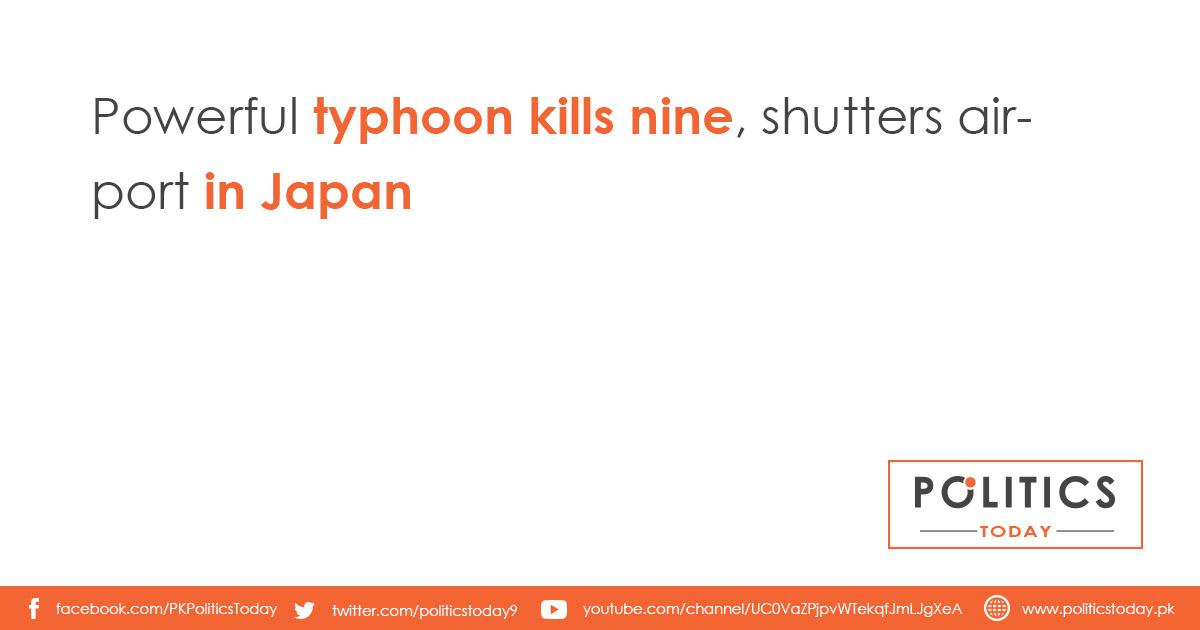 Powerful typhoon kills nine, shutters airport in Japan