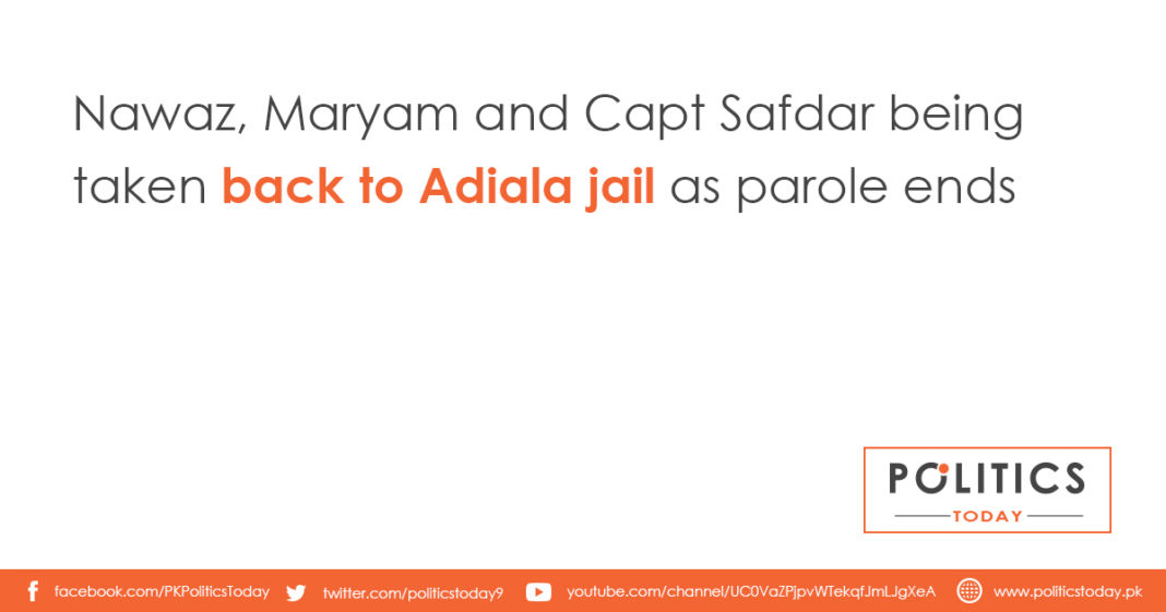 Nawaz, Maryam and Capt Safdar being taken back to Adiala jail as parole ends