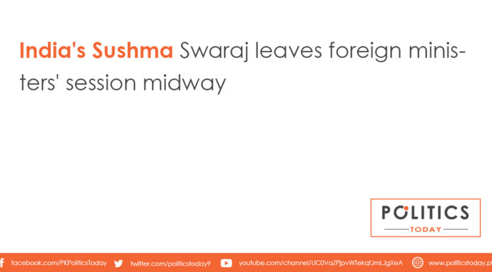 India's Sushma Swaraj leaves foreign ministers' session midway
