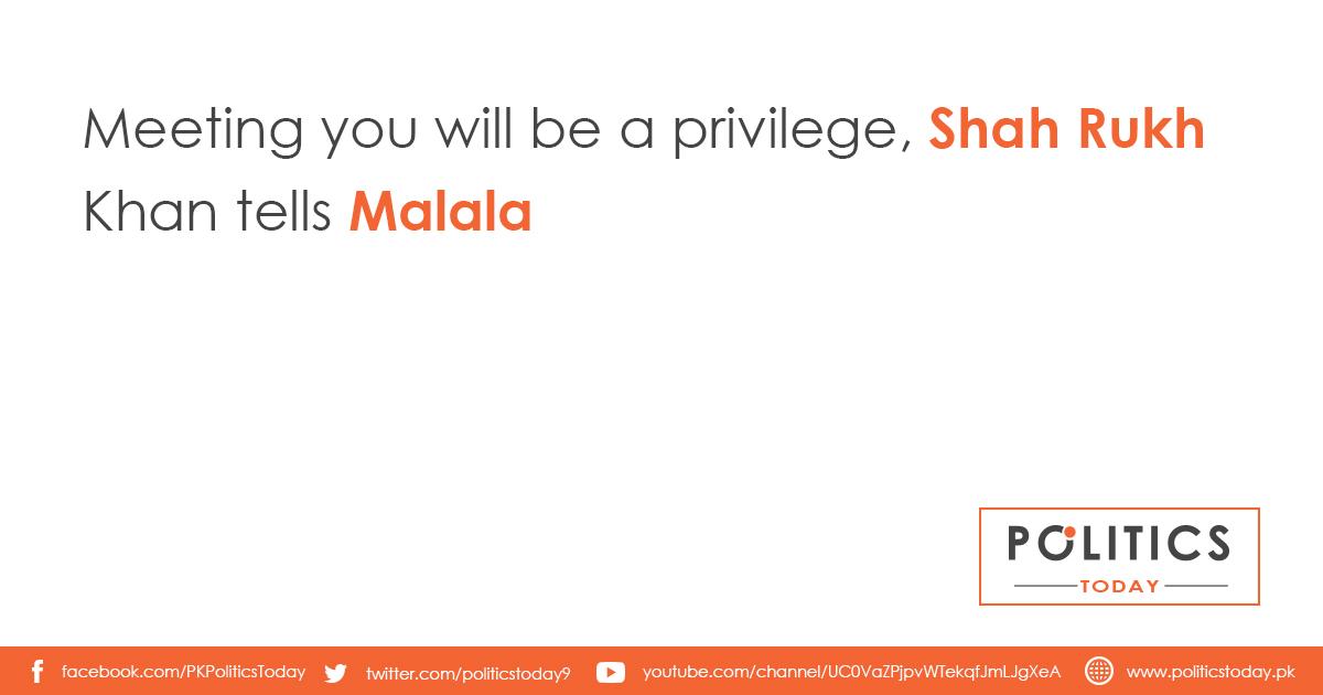 Meeting you will be a privilege, Shah Rukh Khan tells Malala