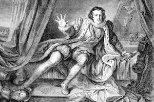 """Cultural diversity. An engraving of Garrick. He might be saying """"no women in this club""""."""