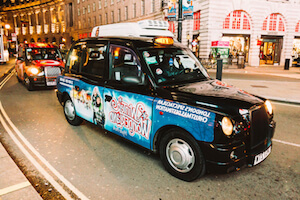 London Taxis like this often have advertising on their doors
