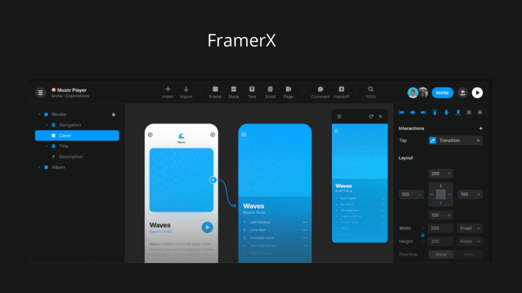 FramerX- Best Mobile App UI Design Tools