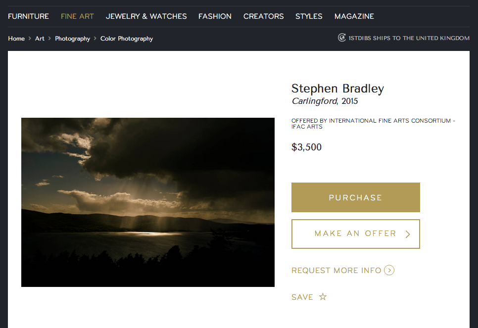 1stdibs fine art photography listing showing color landscape photograph by fine art photographer Stephen Bradley.