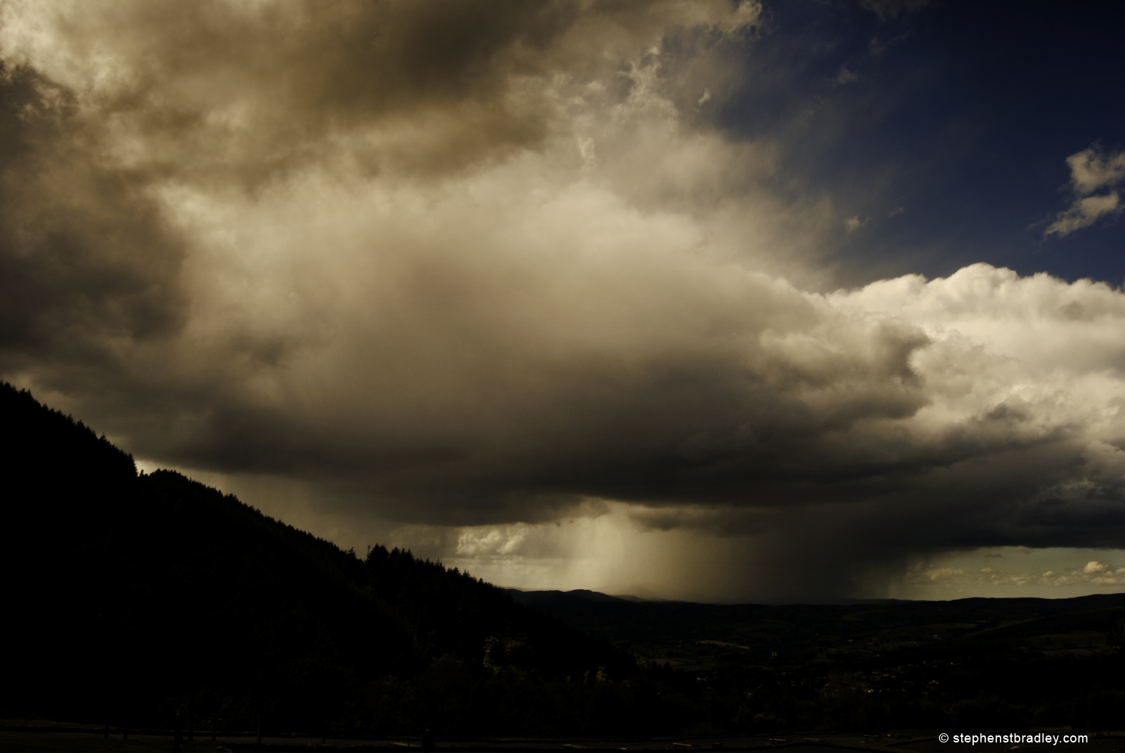 Landscape photograph of rainclouds over Rostrevor from Kilbroney Park, Northern Ireland - photo 1789-88.