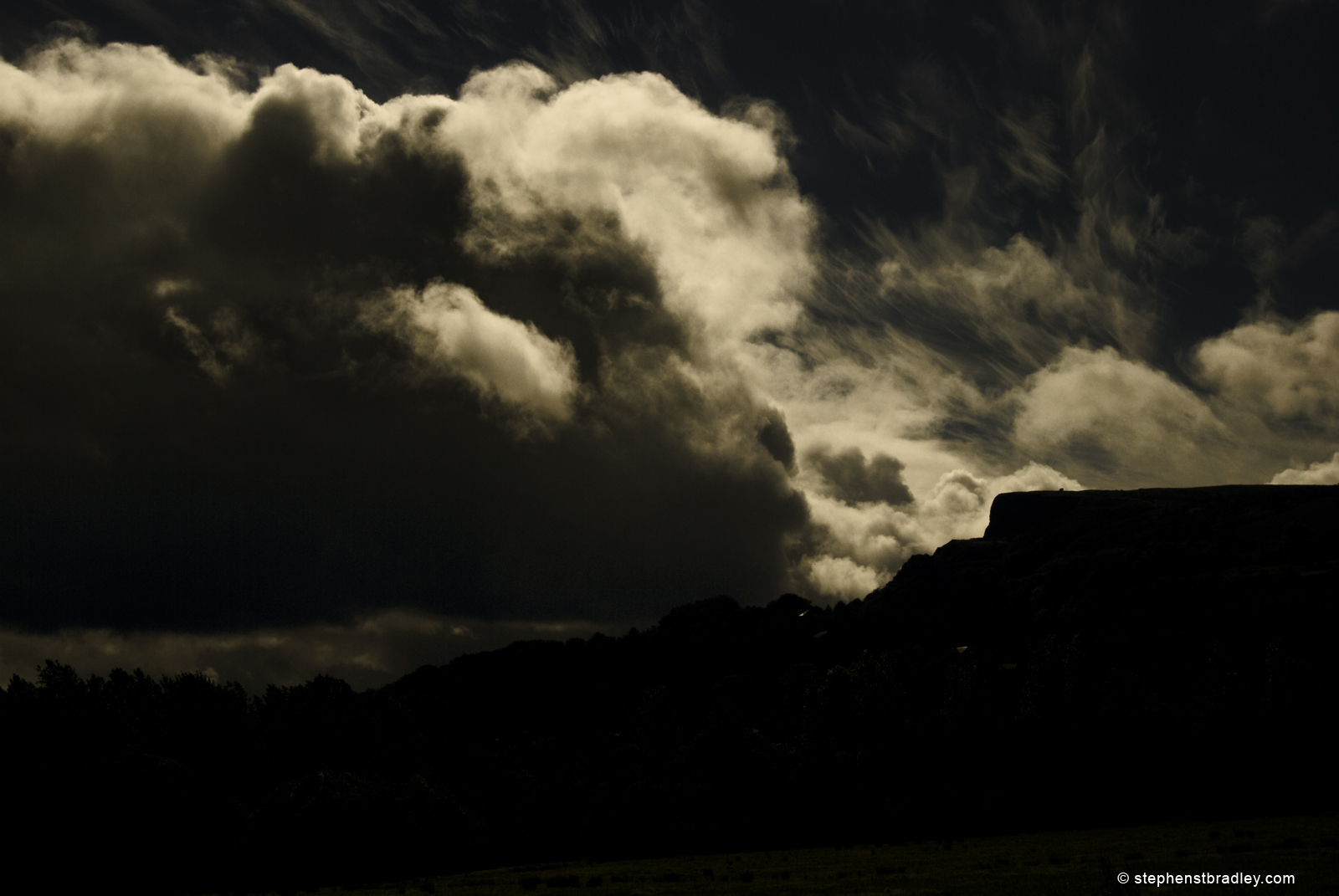 Landscape photograph of storm clouds over Cavehill Belfast, Northern Ireland, UK. Image 4390.