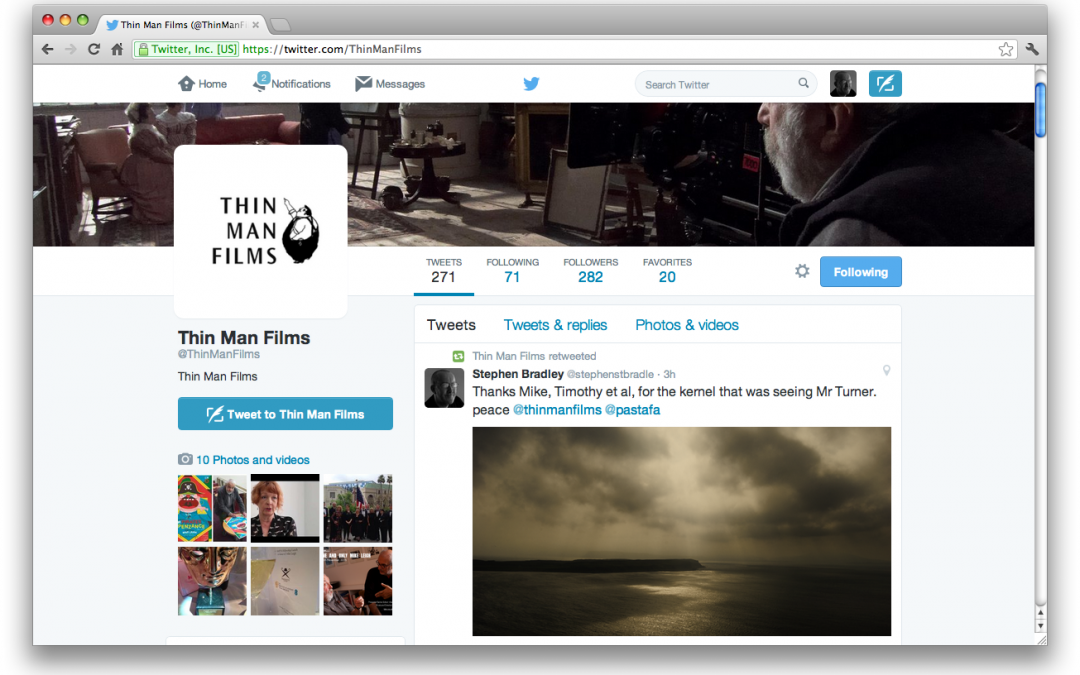 Thin Man Films Twitter retweet by director Mike Leigh production company