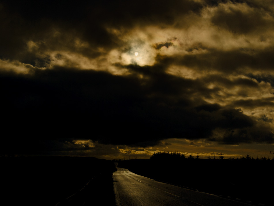 Landscape photograph of sun over Dundrod Road, Northern Ireland image 4746 photo icon.