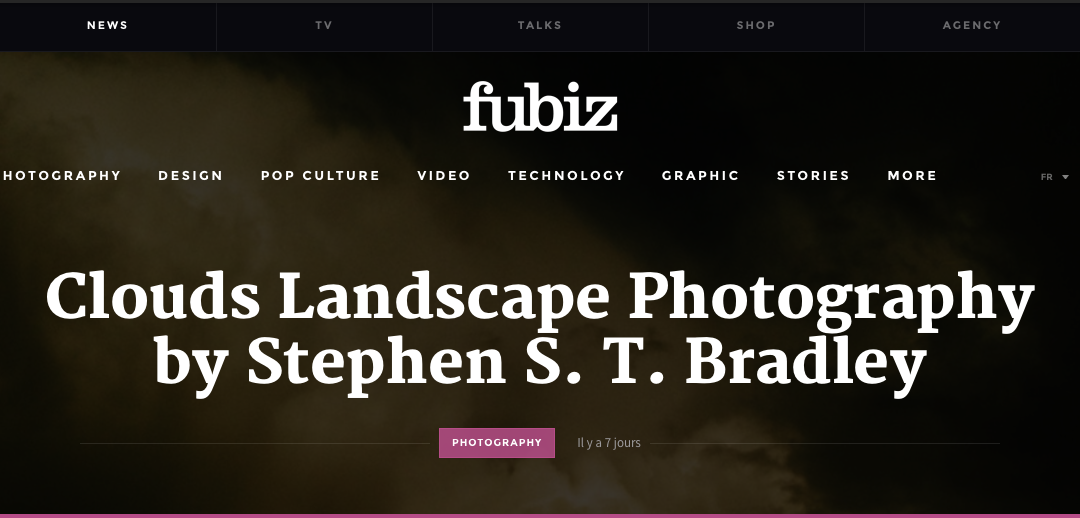 Landscape photographer Stephen S T Bradley editorial in fubiz - web site header illustration.
