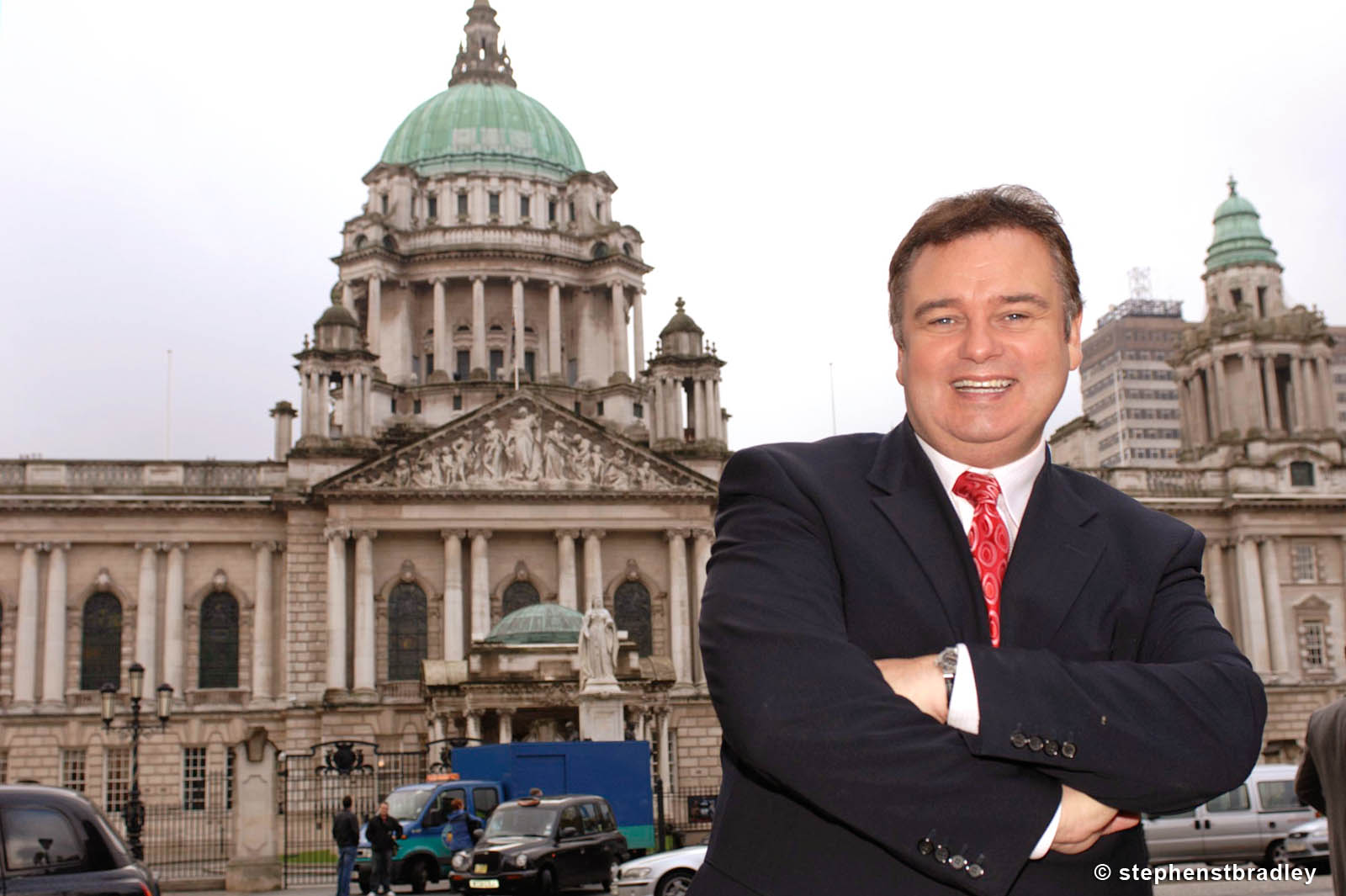PR Photographer Dublin Ireland portfolio photo of celebrity Eamonn Holmes pictured in front of Belfast City Hall, Northern Ireland - photo 6115 by Stephen S T Bradley PR photography and video production services Dublin, Ireland