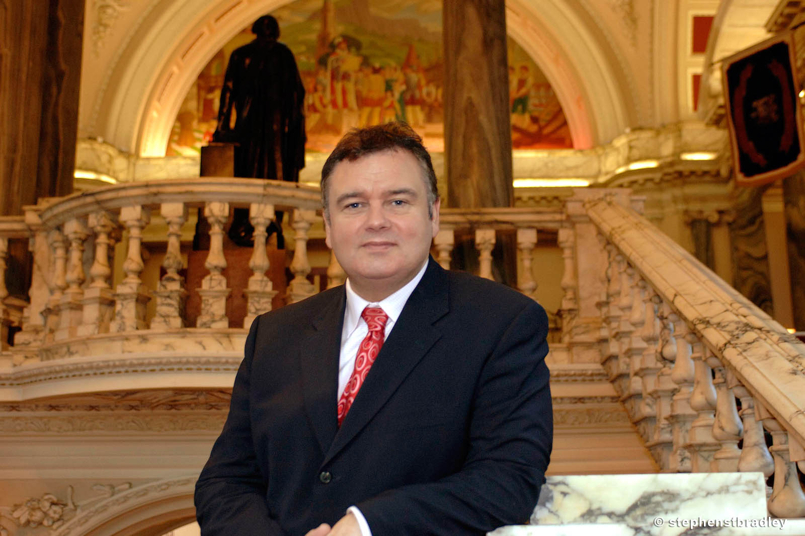 PR Photographer Dublin Ireland portfolio photo of celebrity Eamonn Holmes in Belfast City Hall, Northern Ireland - photo 6161 by Stephen S T Bradley PR photography and video production services Dublin, Ireland