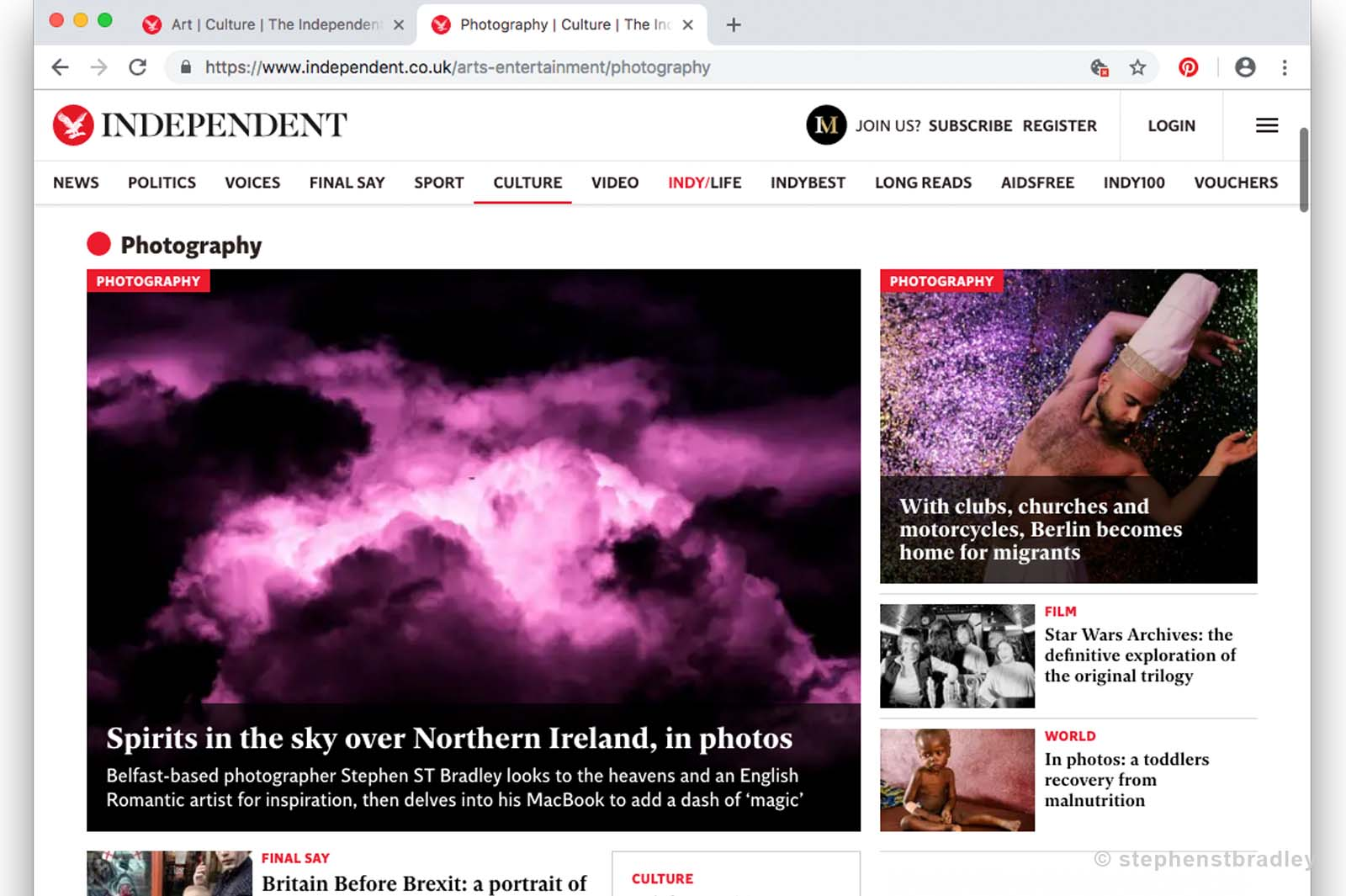 Editorial photography portfolio - photography land page of The Independent newspaper, featuring a story on the fine art photography of Stephen S T Bradley