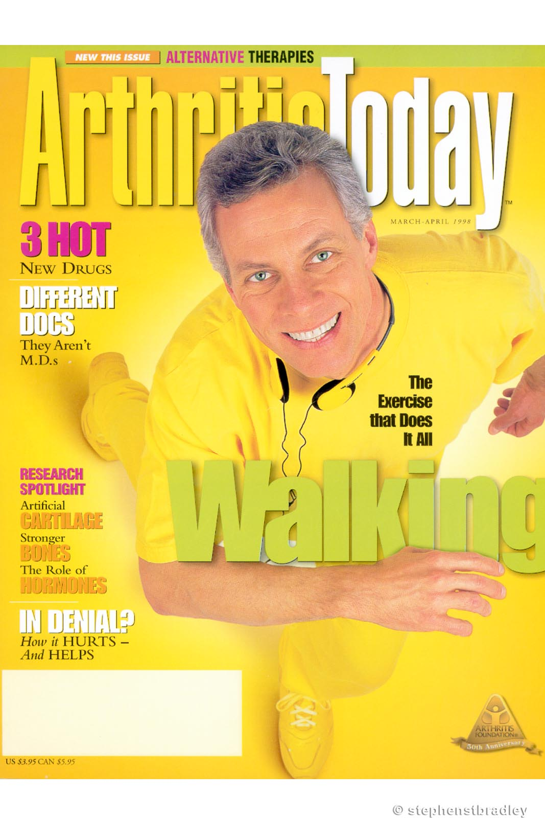 Editorial photography portfolio photo of man in yellow clothes and shoes photographed for Arthritis Today magazine - magazine cover photo by Stephen S T Bradley