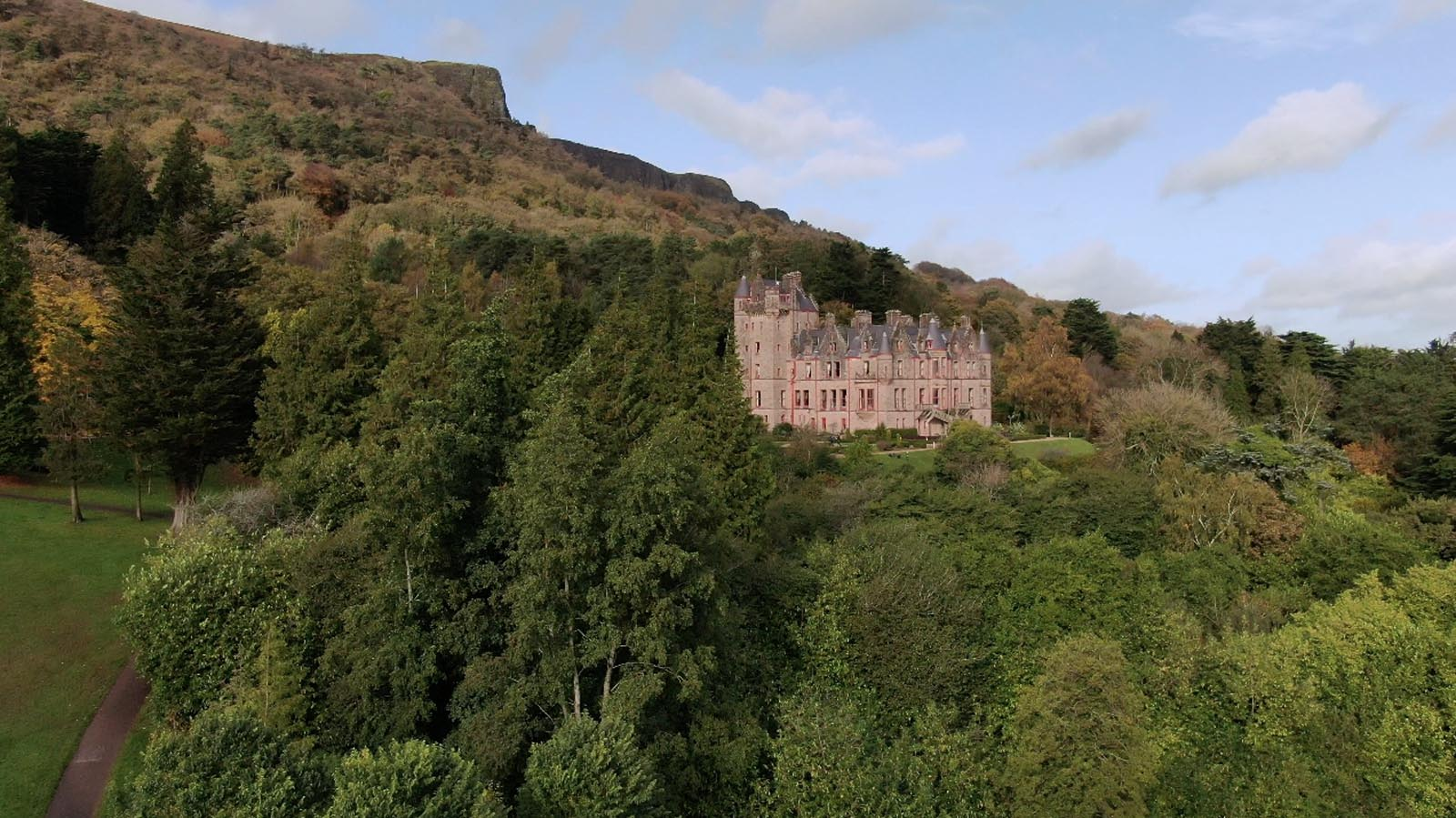 Commercial, residential, property drone photography and video Dublin, Wicklow, Monaghan, Cavan, Ireland portfolio - screenshot 5 of Belfast Castle video