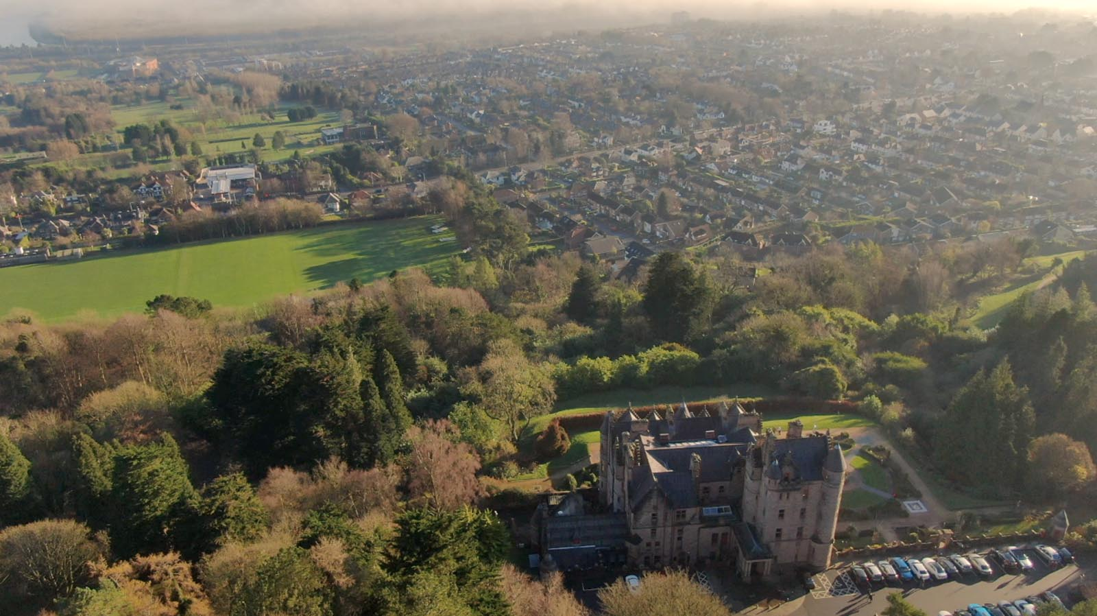 Aerial drone photography and video production services Dublin and Ireland portfolio - screenshot 4 of Belfast Castle 2 video