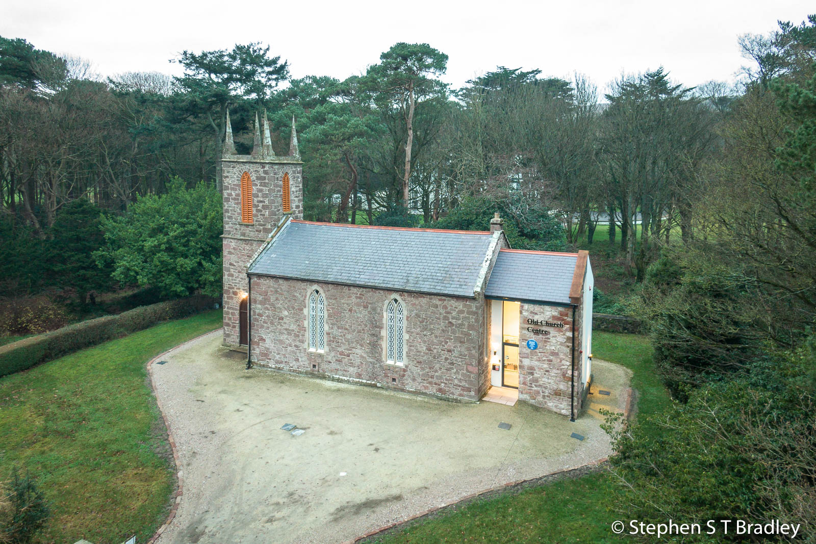 Aerial drone photography and video production services Dublin and Ireland portfolio - The Old Church Centre, Cushendun, aerial photo 0007