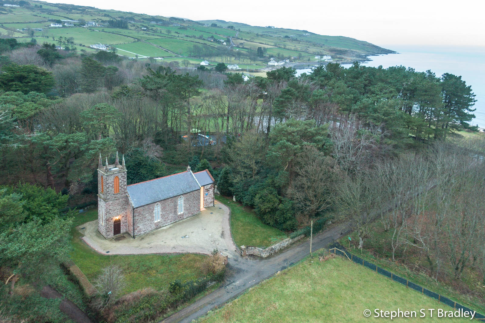 Aerial drone photography and video production services Dublin and Ireland portfolio - The Old Church Centre, Cushendun, aerial photo 0008