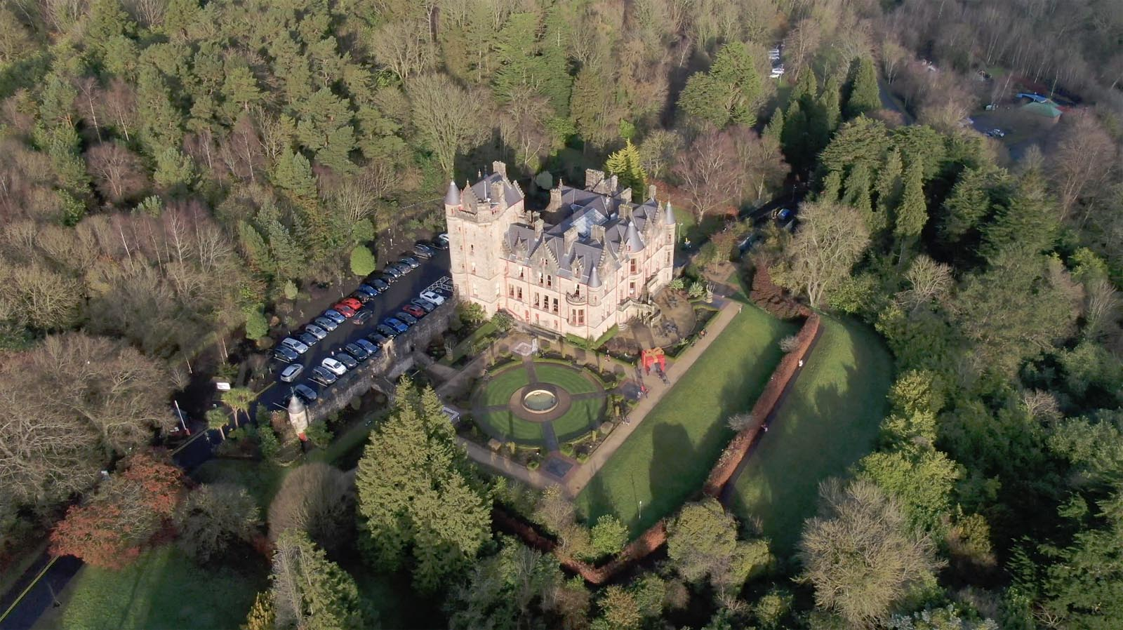 Aerial drone photography and video production services Dublin and Ireland portfolio - changing seasons in one video of Belfast Castle, Northern Ireland, video screenshot 1