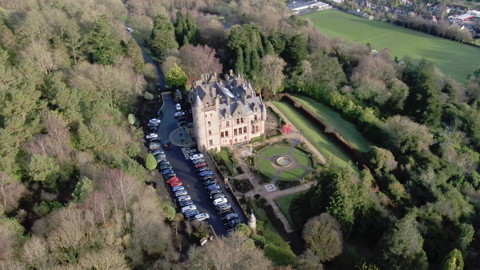 Aerial drone photography and video production services Dublin and Ireland portfolio - changing seasons in one video of Belfast Castle, Northern Ireland, video screenshot 2