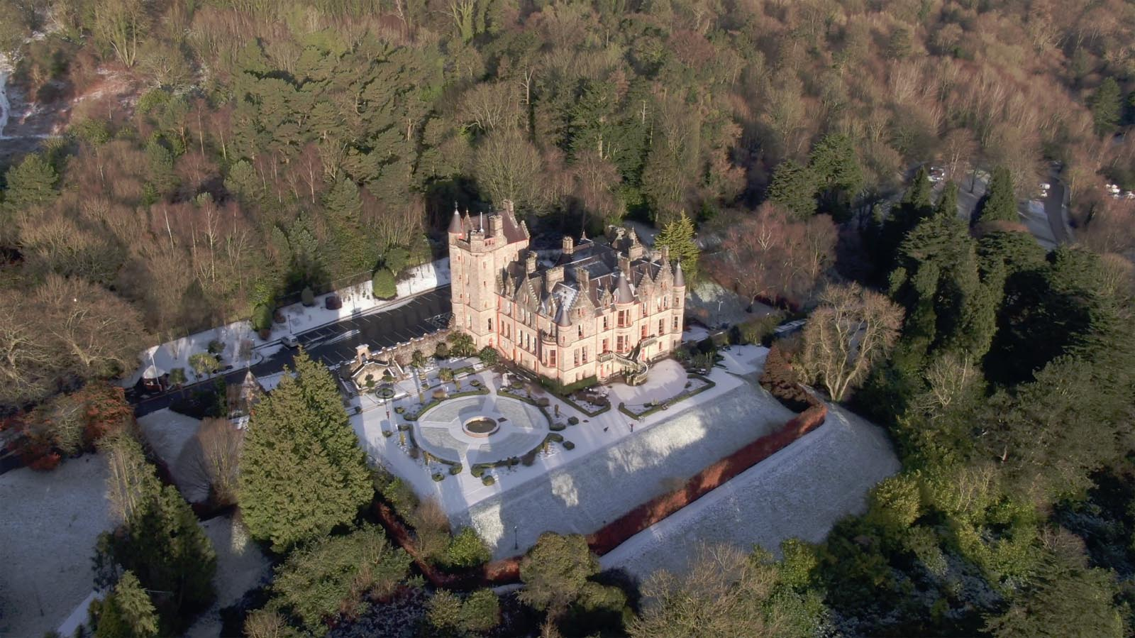 Aerial drone photography and video production services Dublin and Ireland portfolio - changing seasons in one video of Belfast Castle, Northern Ireland, video screenshot 5