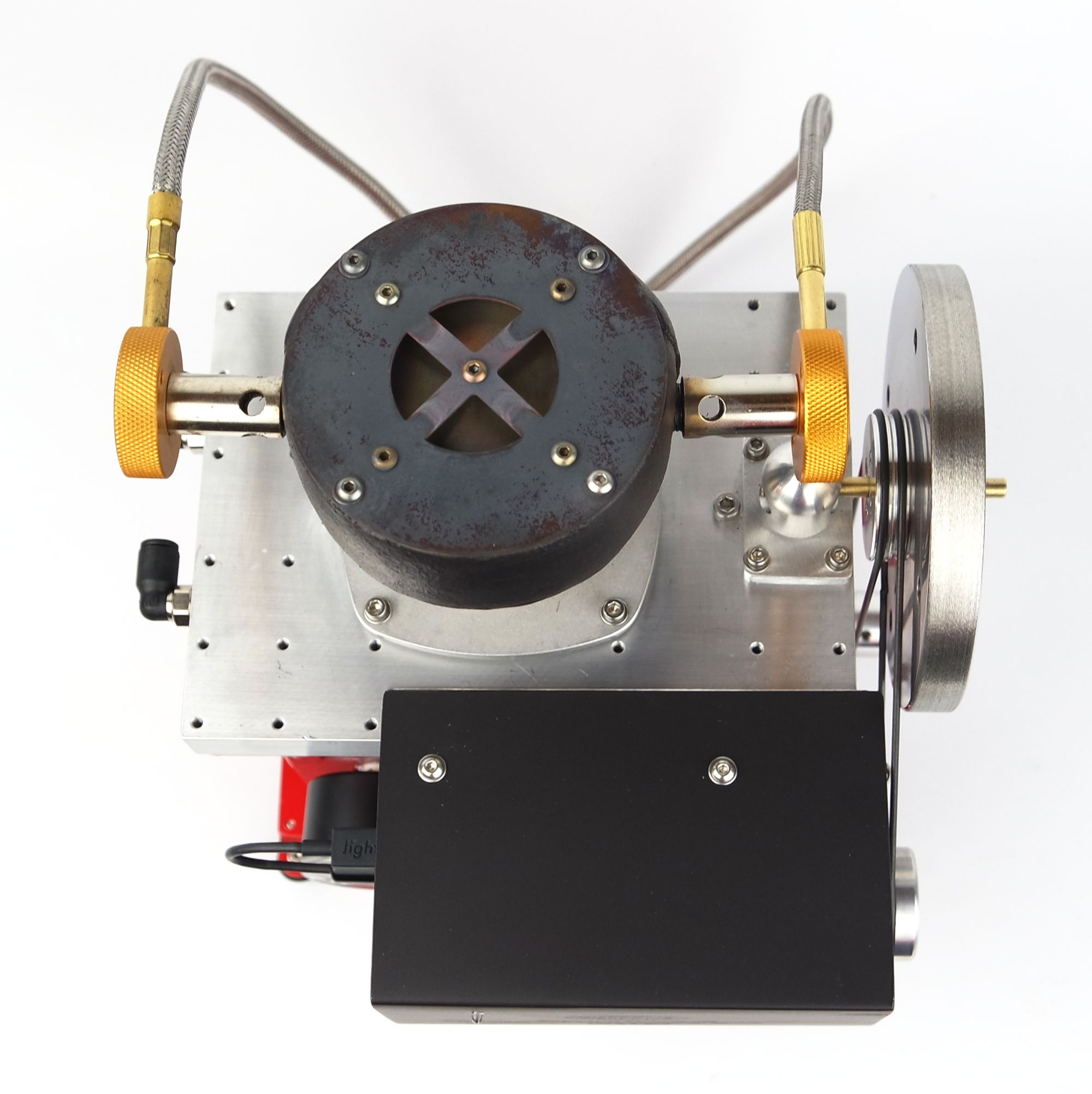 Experimental 14cc Stirling engine with Gamma configuration - view from top