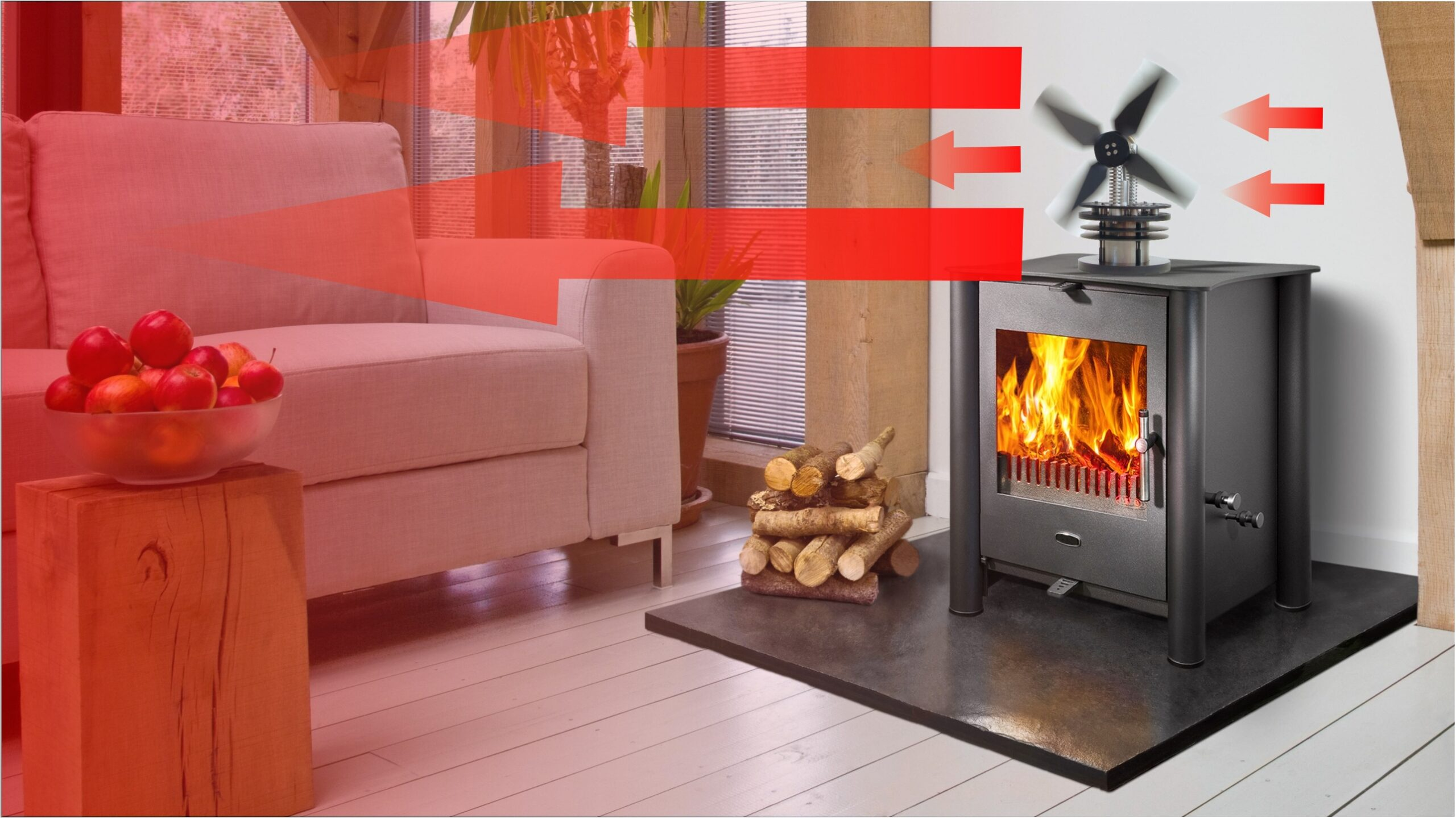 When you use a stove fan, the heat is circulated throughout the room - saving on heating fuel and making it more comfortable.
