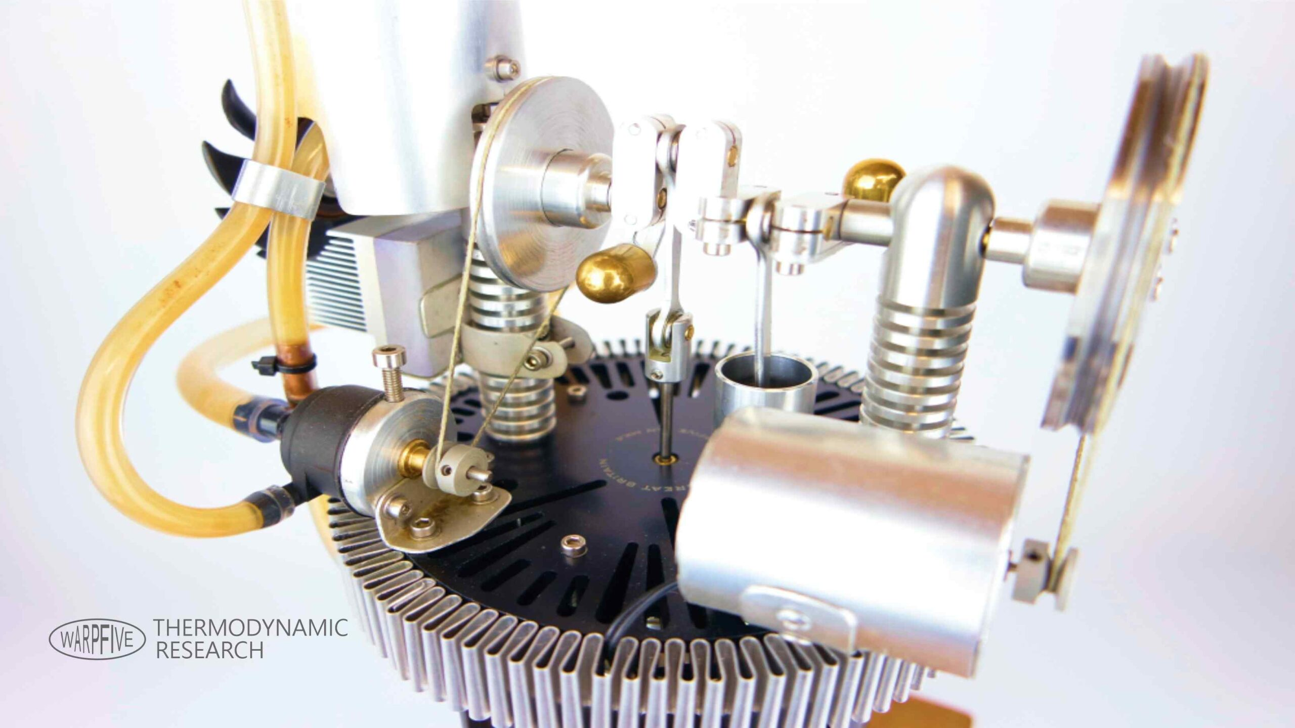 Warpfive prototype Stirling engine generator – finned, water-cooled design and built to optimise thermodynamics