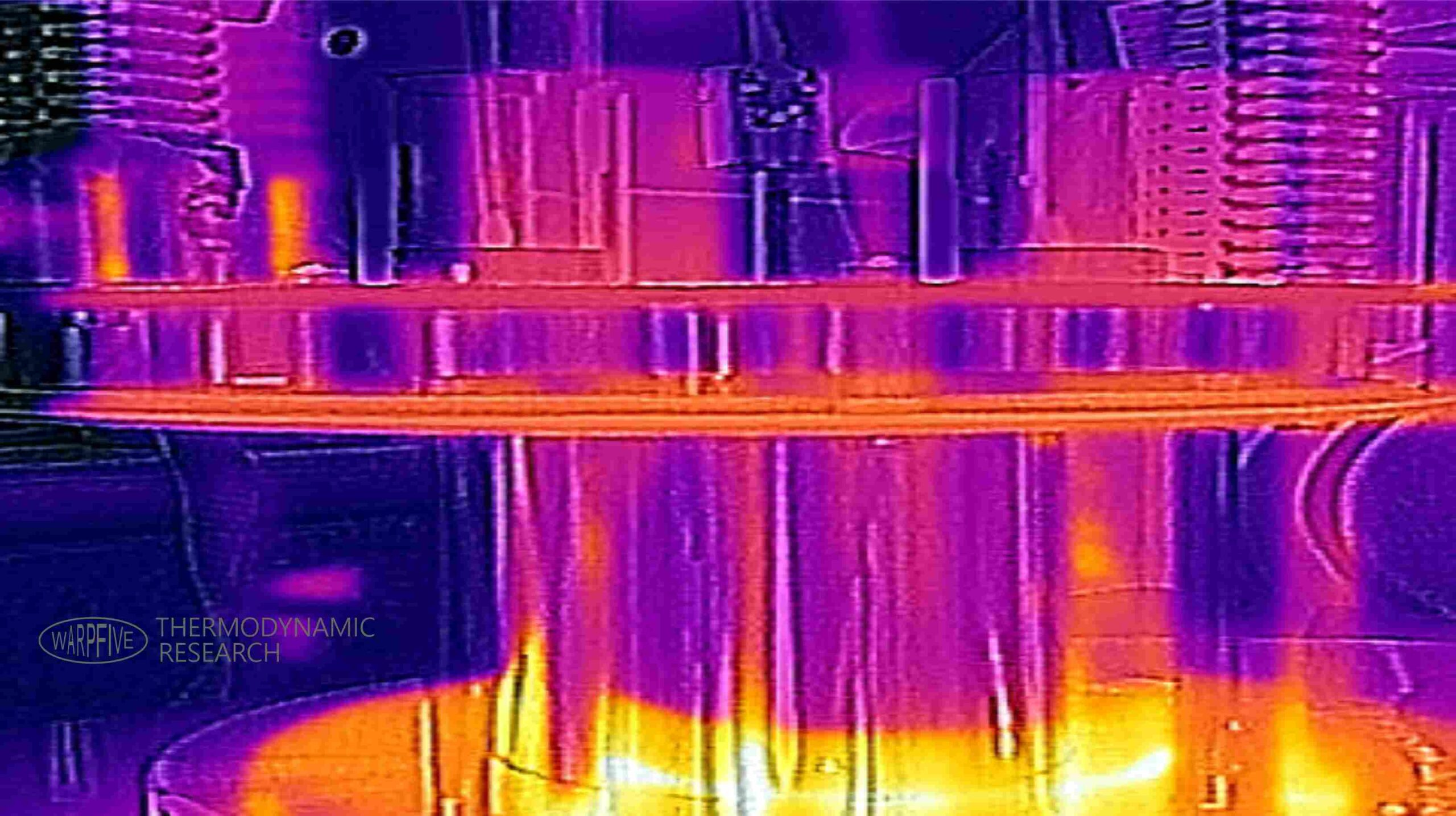 FLIR image of heat transfer within a Stirling engine indicating areas of high and low temperature