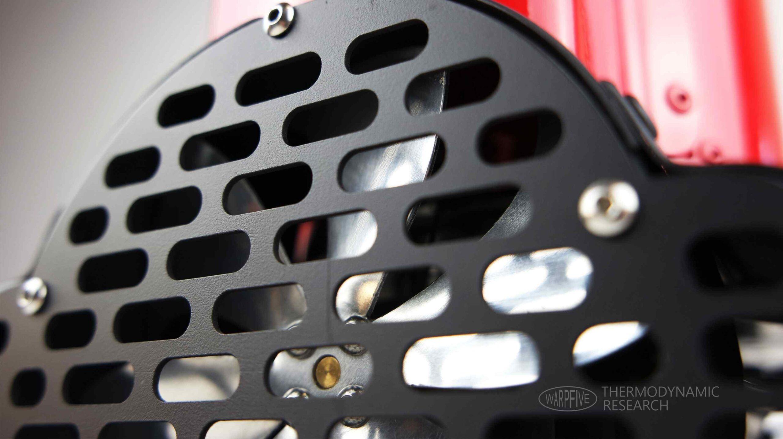 Close up of Warpfive Stirling engine generator cooling fan