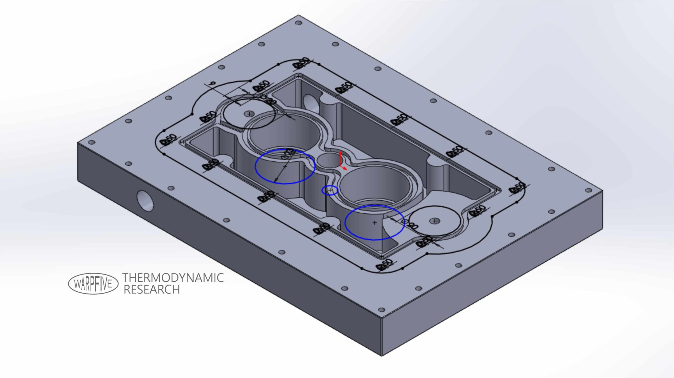 Warpfive Stirling engine heat exchanger manifold for use with liquid cooling
