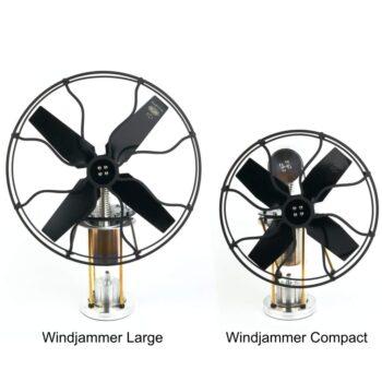 Windjammer Stirling engine fan - large vs compact