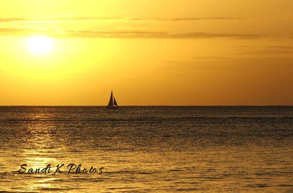 Waikiki, Hawaii, Oahu, sunset, sailboat,