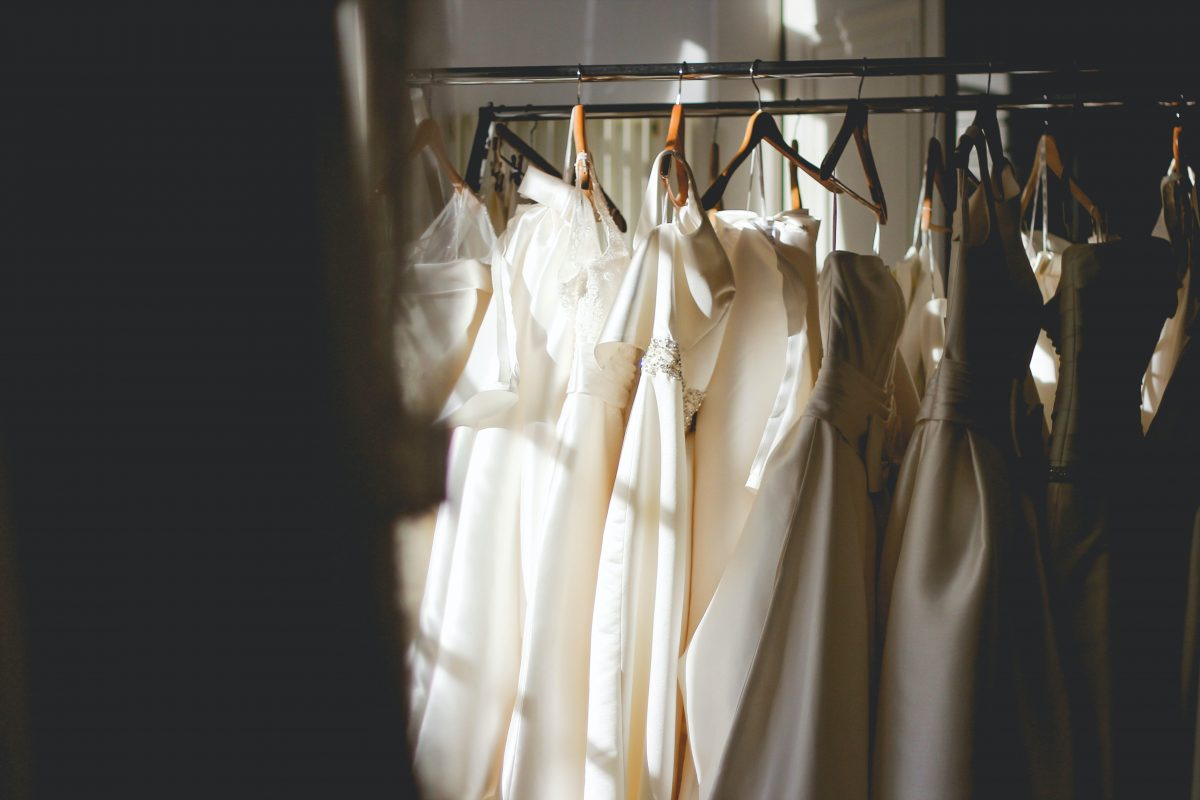 Bridal Dresses Haning on Clothing Rack