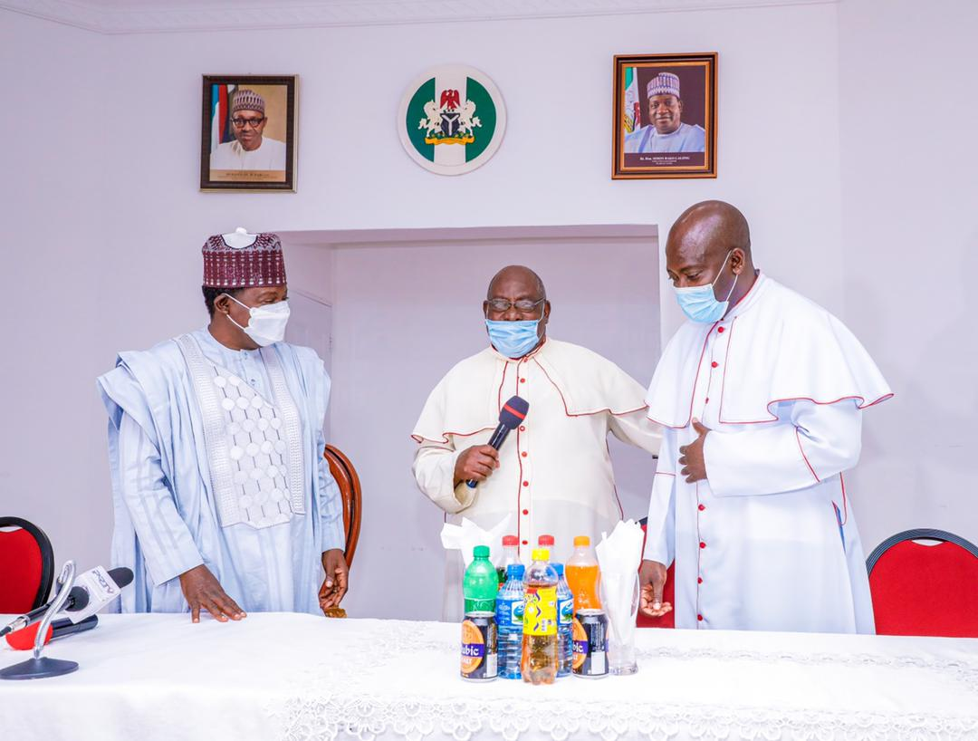 Bishop-elect of Lafia Diocese,  Mnsgr. David Ajang Presented to Gov. Lalong by Catholic Archdiocese of Jos