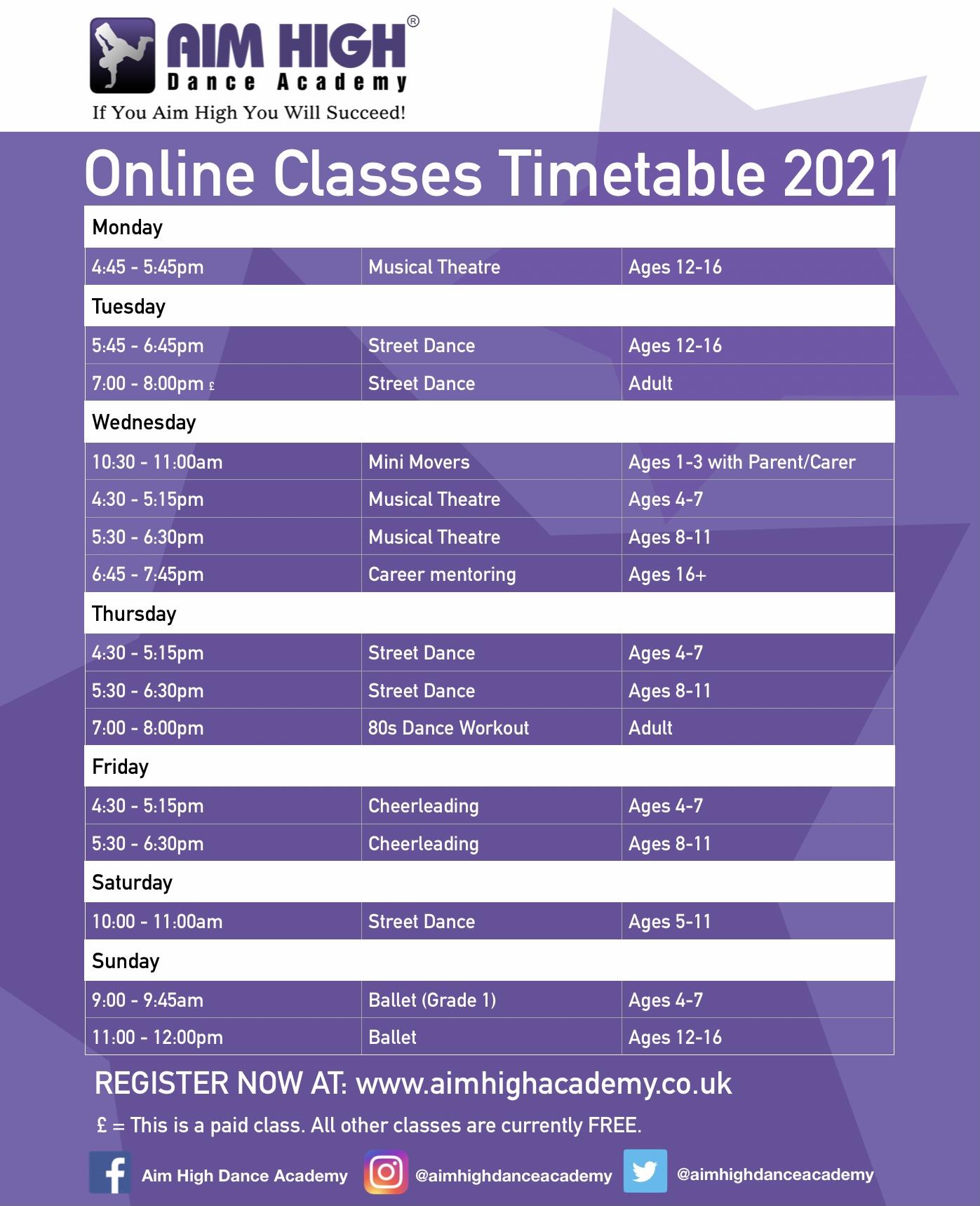 New Aim High Timetable