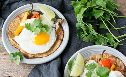 BREAKFAST TACOS WITH HARISSA LIME SOUR CREAM