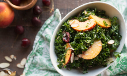 EASY, RAW, SUMMER FRUIT AND KALE SALAD