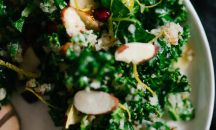WINTER KALE SALAD WITH POMEGRANATE, ALMOND AND CAULIFLOWER